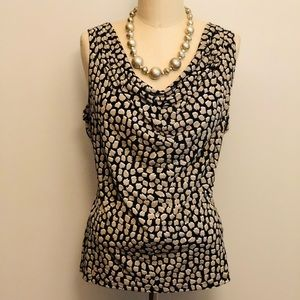 Black & Tan Patterned Cowl Neck Blouse Large